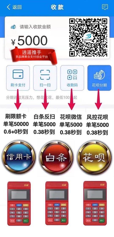 盛刷mpos支持支付宝花呗、POS机微信、白条收款吗?限额多少?